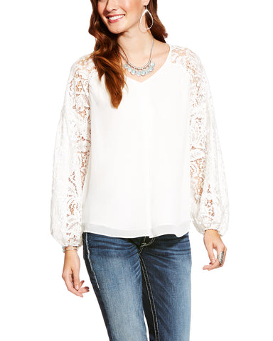 Women's Cloud Dancer Lace Blouse