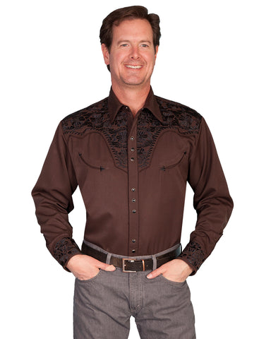 Men's Floral Embroidered Western Shirt - Chocolate