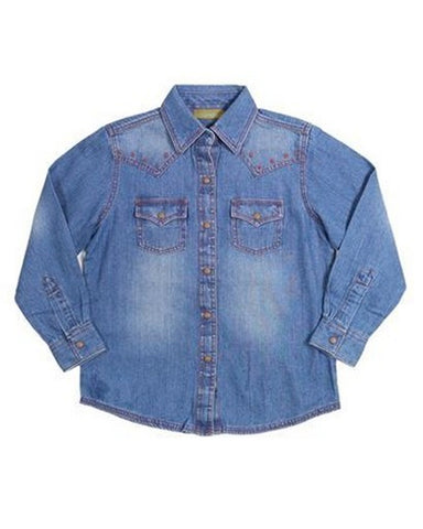 Girl's Premium Patch Denim Western Shirt