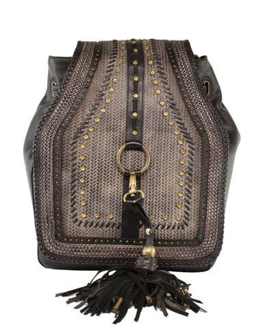 Womens Woven With Studs Leather Purse - Grey