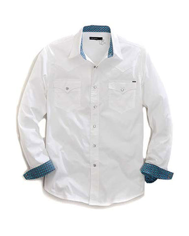 Men's Solid Long Sleeve Poplin Shirt - White