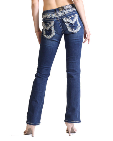 Womens Faux Flap Junior Fit Boot Cut Jeans