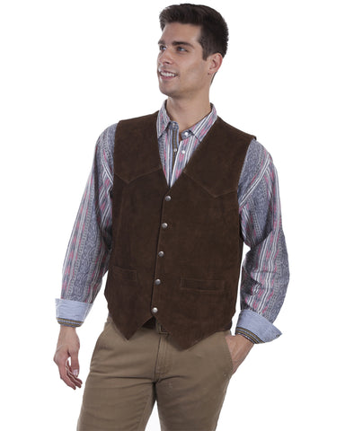 Mens Lambskin Suede Vest - Brown
