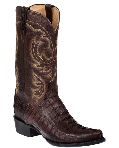 Men's Crockett Hornback Caiman Crocodile Tail Boots - Sienna