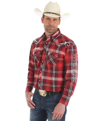 Men's Wrangler Logo Long Sleeve Plaid Western Shirt