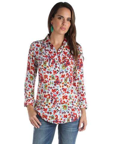 Women's Floral Long Sleeve Western Shirt