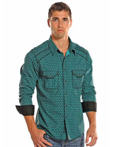 Mens Poplin Print Snap Up Western Shirt
