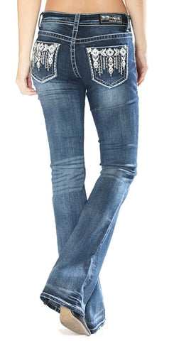 Womens Easy Fit Embellished Boot Cut Jeans