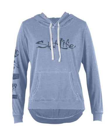 Womens Oasis Sunburnt Pullover Hoodie - Chambray