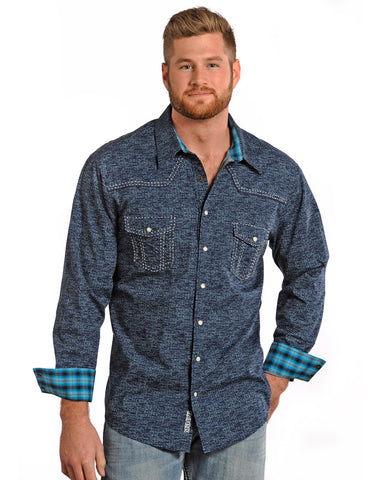 Men's Distressed Poplin Print Western Shirt