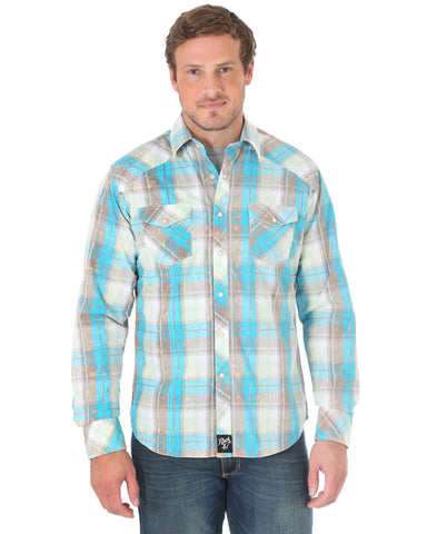 Men's Rock 47 Plaid Long Sleeve Western Shirt - Grey