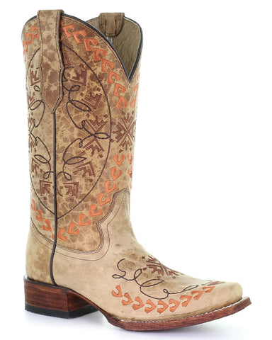 Women's Straw Embroidered Western Boots