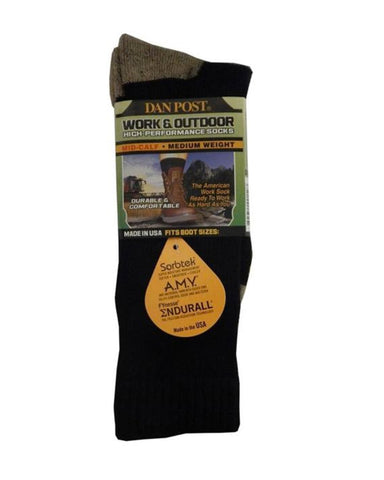 Men's Medium Weight Work Socks - Black