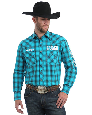 Men's Ram Logo Plaid Long Sleeve Western Shirt