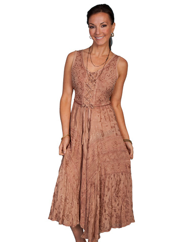 Women's Full Length Lace Front Dress - Tan