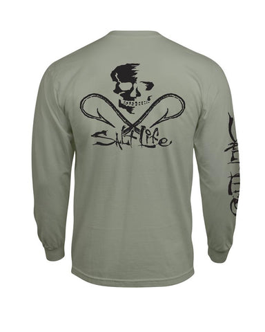 Men's Skull & Hooks Long Sleeve Shirt - Olive