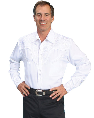 Men's Floral Embroidered Western Shirt - White