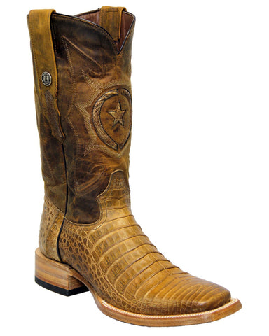 Mens Caiman Belly Boots - Antique