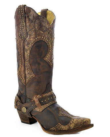 Women's Brown Snip-Toe Boots