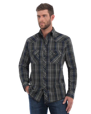 Men's Fashion Plaid Long Sleeve Western Shirt - Grey / Black