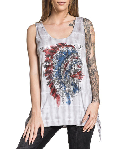 Womens AC Painted Horse Tie Tank Top
