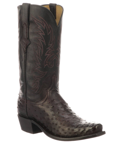 Men's Elgin Full Quill Ostrich Boots - Black Cherry