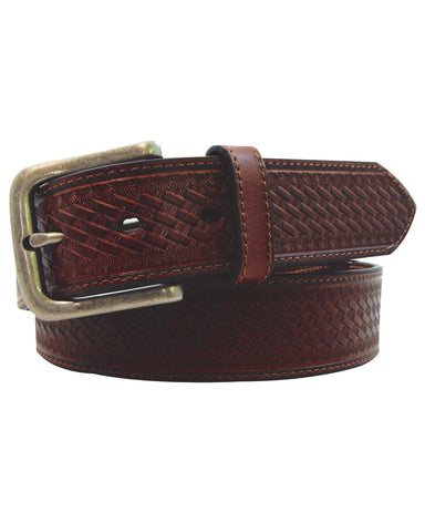 Mens Leather Basket Weave Belt