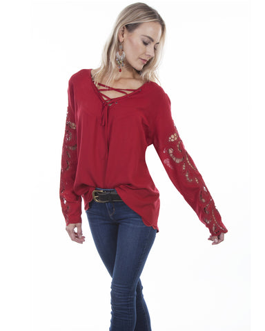 Women's Hi-Lo Crochet Blouse