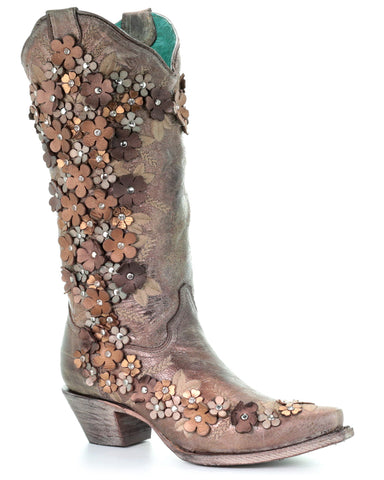 Womens Floral Overlay Embroidered Boots