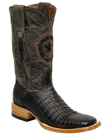 Men's Caiman Belly Boots - Nicotine