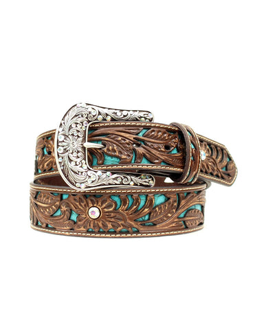 Women's Floral Tooled Leather Belt