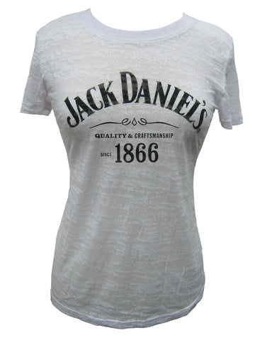 Women's Jack Daniels Logo Burnout T-Shirt - White