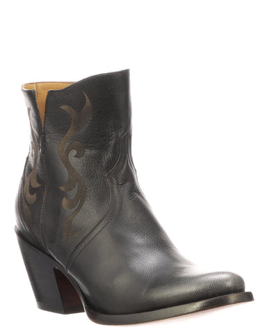 Women's Etched Short Boots - Black