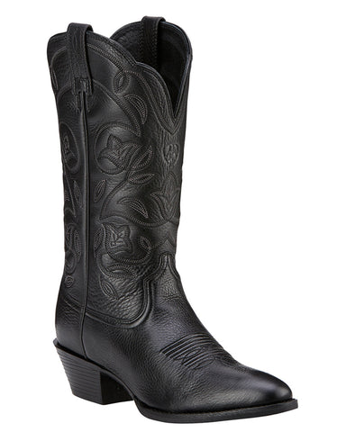 Womens Heritage Western R Toe Boots - Black