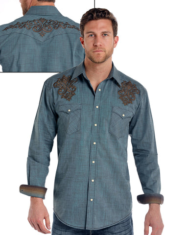 Mens Trinity Iridescent Long-Sleeve Western Shirt