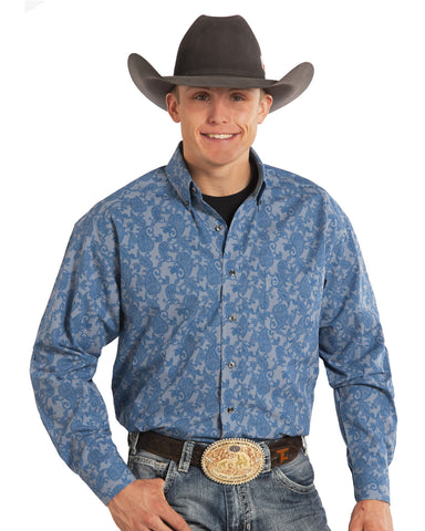 Men's Tuf Cooper Yarn Dye Poplin Western Shirt - Blue