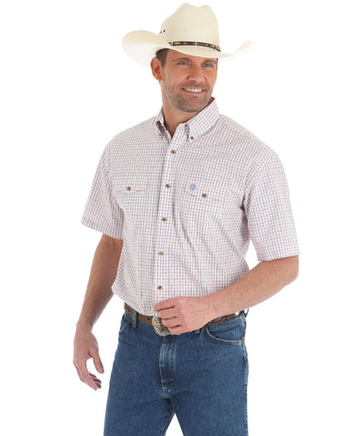 Men's George Strait Checkered Short Sleeve Western Shirt - Red