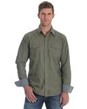 Mens Retro Long Sleeve Check Pattern Western Shirt