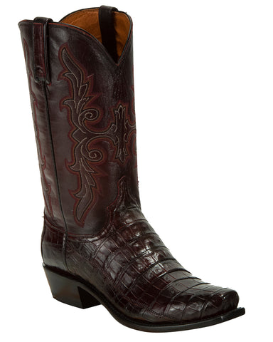 Men's Limited Release Hornback Caiman Boots - Black Cherry