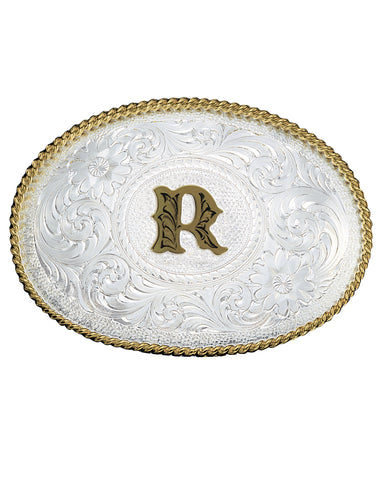 Engraved Initial R Medium Oval Buckle