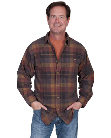 Mens Couduroy Plaid Western Shirt - Charcoal