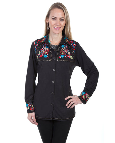 Womens Studded & Embroidered Western Shirt