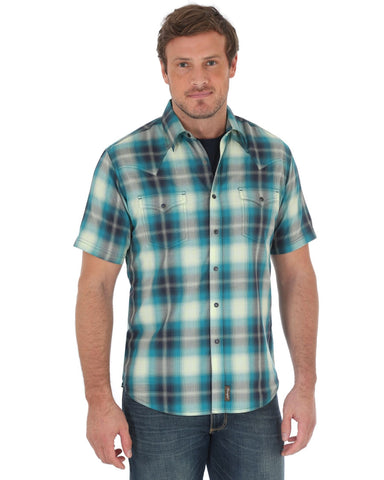 Men's Retro Plaid Topstitching Short Sleeve Western Shirt