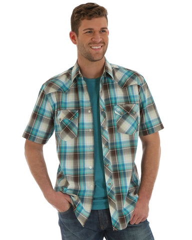 Men's Retro Faded Plaid Short Sleeve Western Shirt