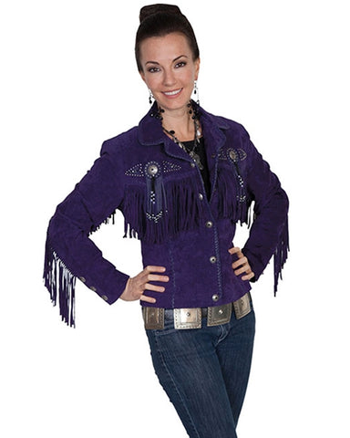 Women's Fawn Suede Beaded Jacket - Purple