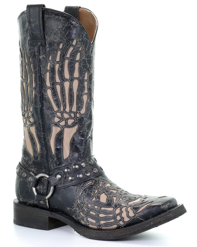 Men's Hand Bone Inlay Boots