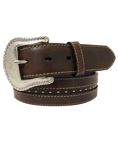 Mens Small Contrast Leather Belt