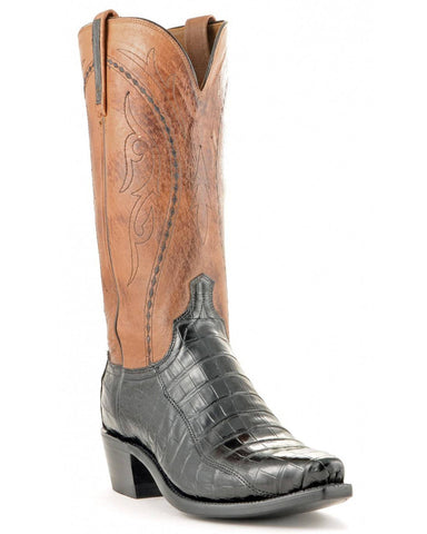 Men's Ultra Belly Caiman Boots - Black