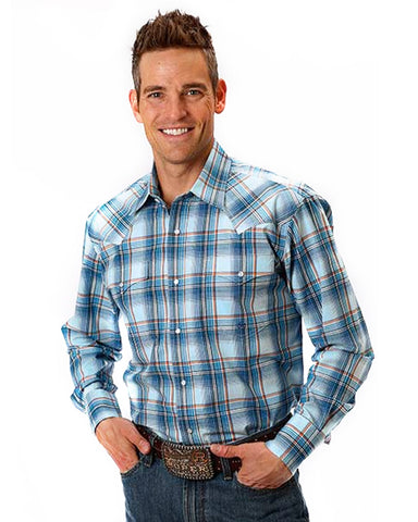 Men's Chekered Plaid Long Sleeve Western Shirt