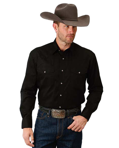 Men's Solid Poplin Long Sleeve Western Shirt - Black